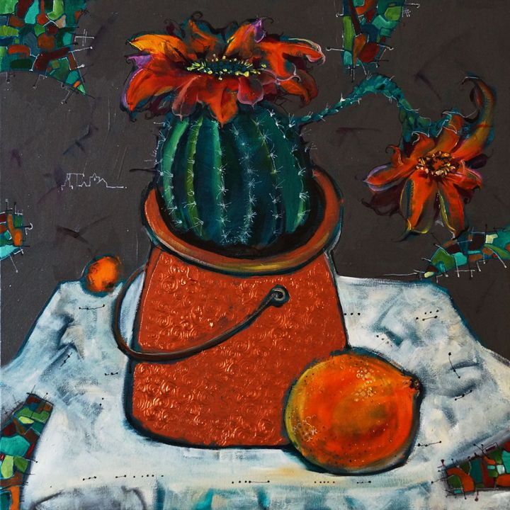 The cuctus and orange - Dariya Tumanova Art
