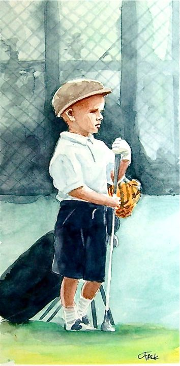 Jr Golfer Anticipation - Original Watercolor Paintings