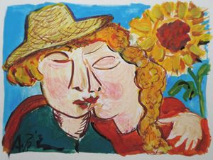 Sunflower Kiss acrylic on paper