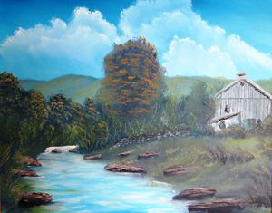 New York Barn by the Stream