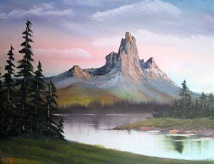Rocky Sunlit Mountain