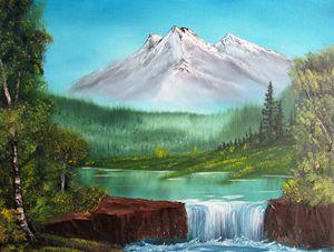 Waterfall Amongst the Mountains