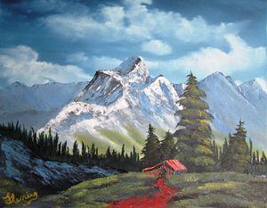 Cabin Amongst Rugged Mountain Range