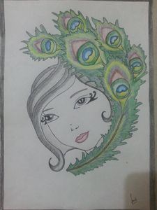 LEAFY GIRL PAINTING