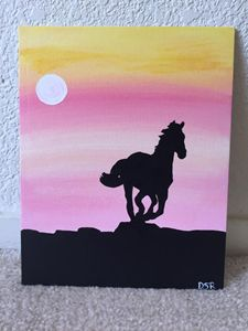 Spring Sunset with a Horse