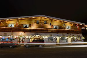 Alpenhof mall by night.