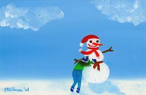 Girl Building Snowman