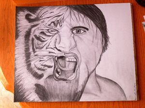 Man tiger drawing