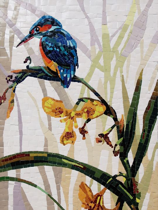 Blue Bird On A Perch With Flowers - Mai Nhon