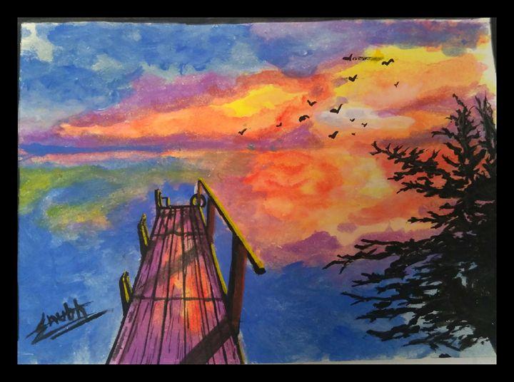 Sunset painting - Shubh Art's
