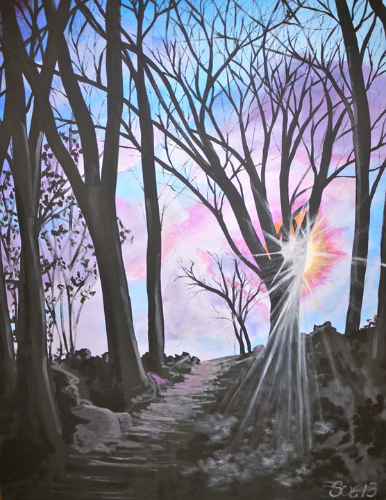Sunrise through the Trees - Sue and Frank's Art Gallery