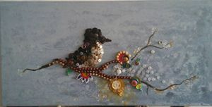 Flowers, Bird, Buttons and Beads