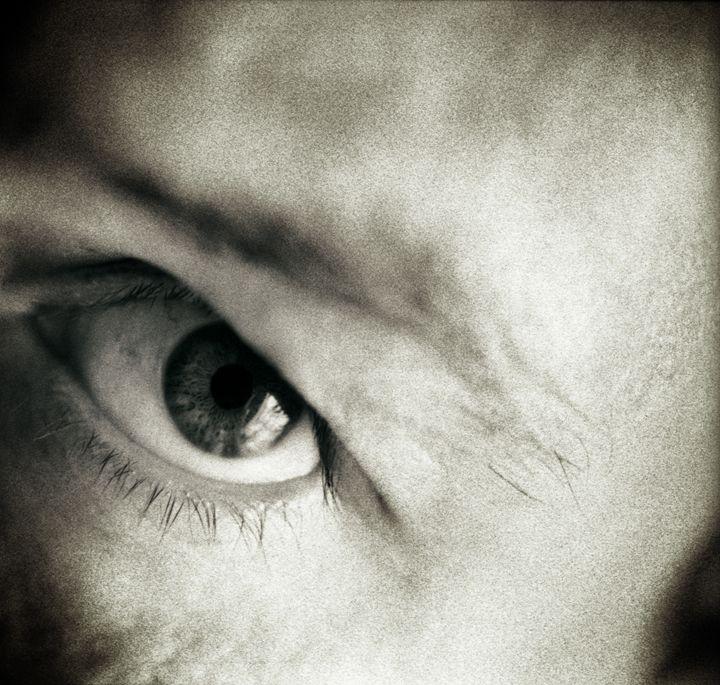 Closeup of eye of man black white - edwardolive