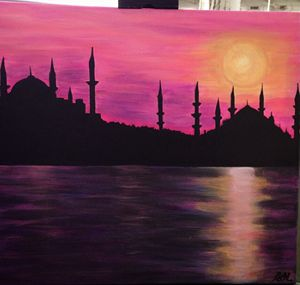 pink Sunset and mosque