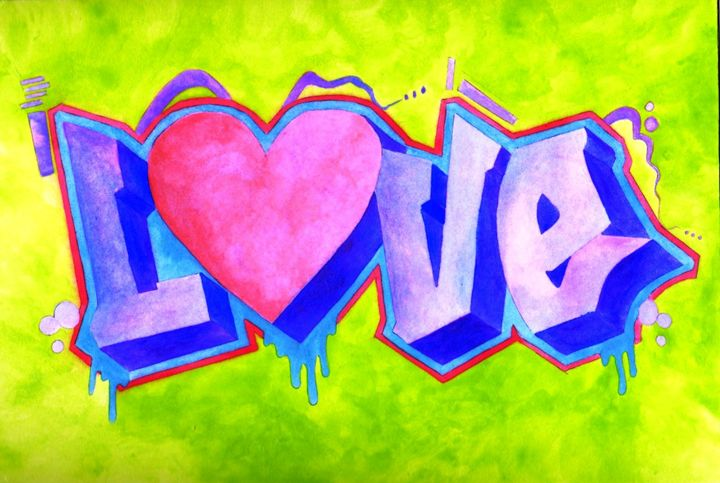 ABSTRACT LOVE WATER COLOR - CUSTOM ART MASTERPIECES