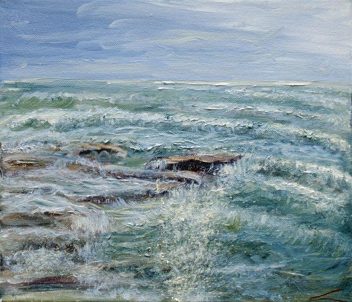 Stormy sea at Sicilia - Elena Sokolova art