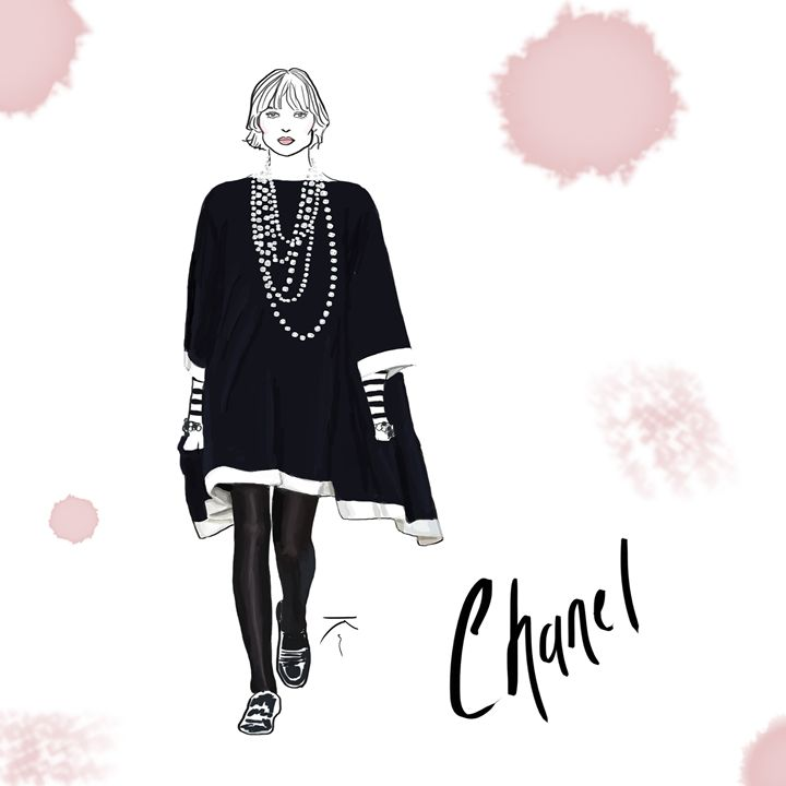 Chanel Runway Illustration - Stripes and Flowers