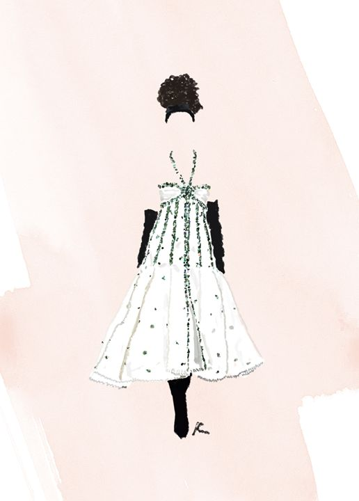Fashion Illustration Chanel Couture - Stripes and Flowers
