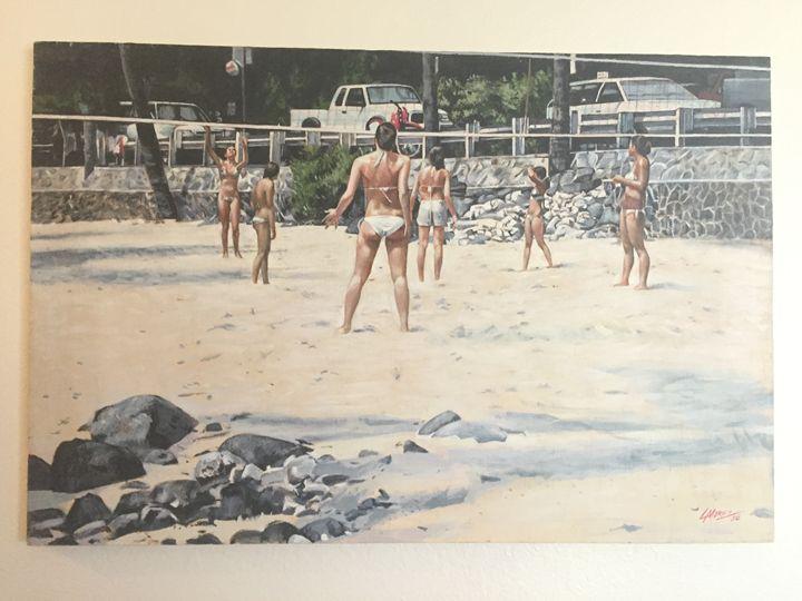 Volleyball Magic Sands Beach Hawaii - Larry Dennis Morez (fine art)