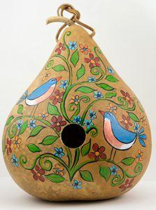 Painted Gourd Birdhouse Bluebirds