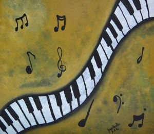 Piano Music Abstract Art By Saribell