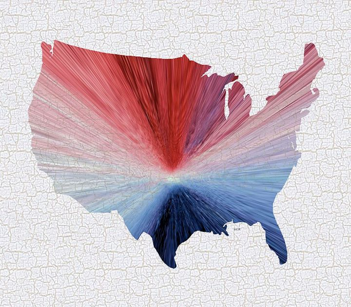 Colorful Art USA Map Blue, Red and W - Saribelle Inspirational Art