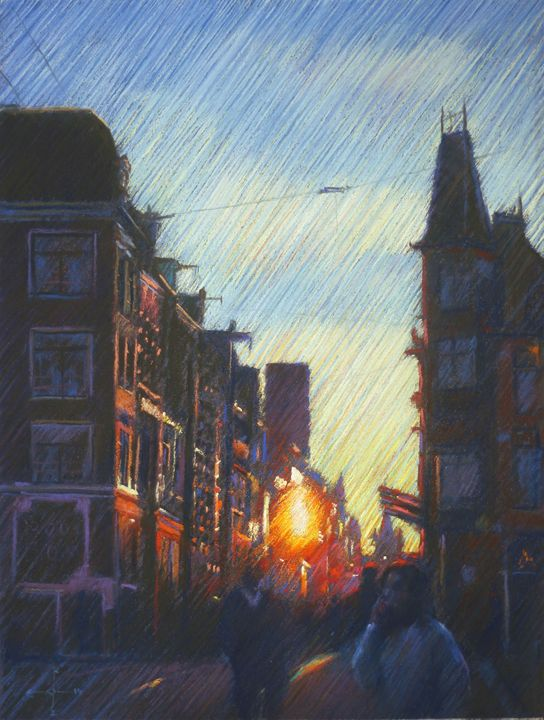 Impression of an Amsterdam sunset - Corné Akkers art works