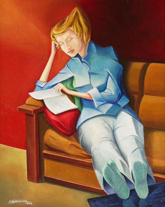 Young women reading - Christian Simonian
