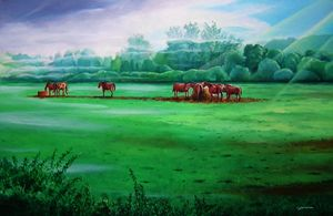 Horses in early morning