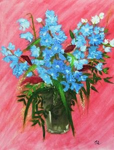 Blue Flowers in pink