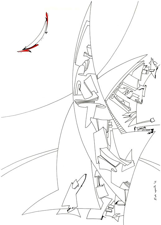 The moon and the sails - Holotropic Art by Edi APOSTU