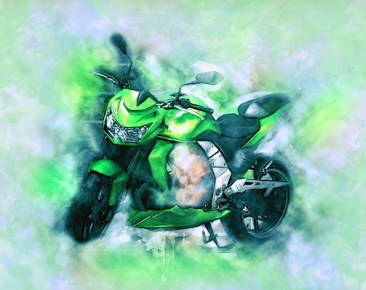 Motorcycle painting - Alan Thompson Art