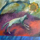 Landscape with sunflower and dog