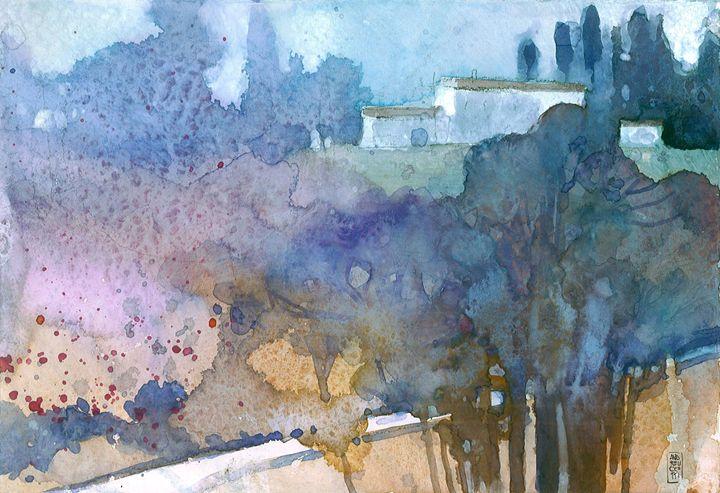 Tuscan landscape in blue - Alessandro Andreuccetti Art