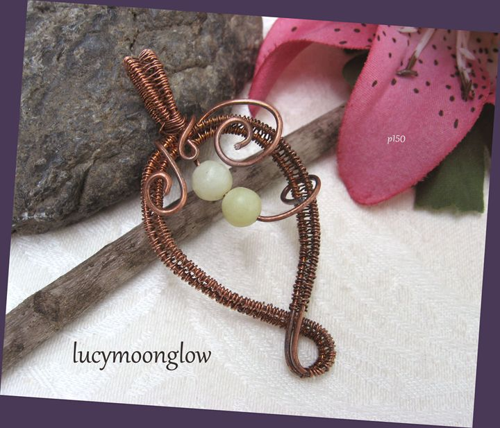 Wire Woven Heart Pendant Necklace - Lucymoonglow