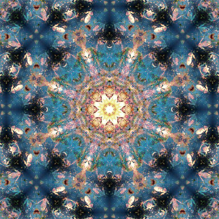 Blue Stone Mandala - Flowers by Alaya Gadeh