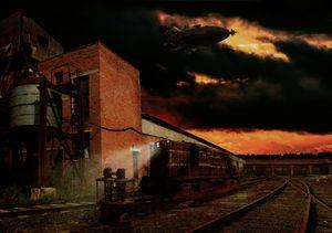 Steampunk rail station