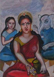 Lakshmi, Sarasvati and Ganesh