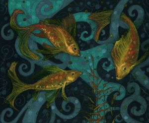 Golden Fishes, black, teal & yellow