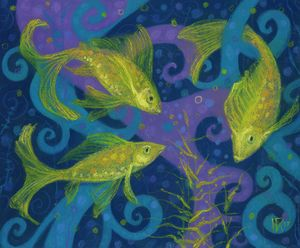 Golden Fishes, blue & yellow