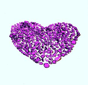 Purple Sea Glass Heart