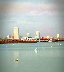 City over lake