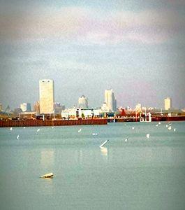 City over lake - Momartist