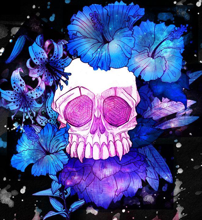 Flowered Skull - GreyKirinArt