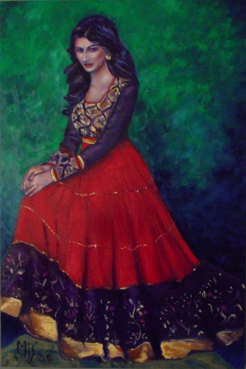 The Red Lehenga - Mike Skiff Paintings