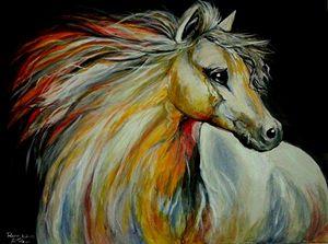 White Wild Female Horse