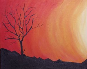 Sunset with Bare Tree
