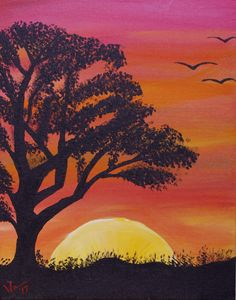 Sunset with Tree and Birds - 11 x 14