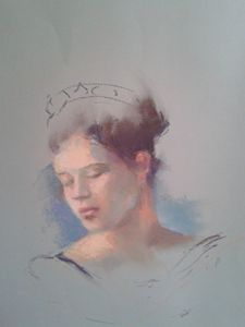 A woman with light blue