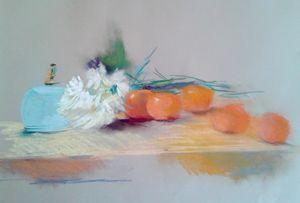 Oranges with light blue